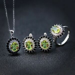 Color Change Sultanit Diaspore Jewelry Sets S925 Silver Ring Earrings Pendant