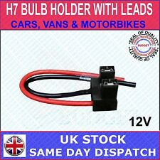 HALOGEN H7 CAR HEADLAMP LIGHT BULB HOLDER PLUG CONNECTOR REPAIR WITH 2 WIRES