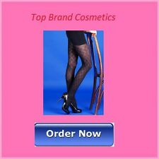 """Black Tights with Diamond Pattern Size Medium 36""""-42"""" Hips NEW Boxed"""