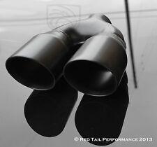 "Black Dual / Twin 3.5"" Round Exhaust Muffler Tip 7.75"" width & 2.5"" Inlet ID"