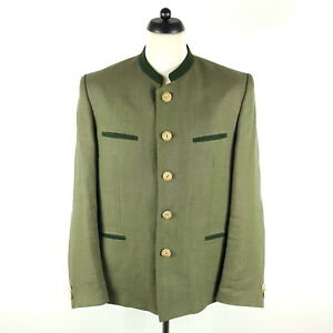 Lodenfrey Janker Herren Gr. 50 Grün Leinen Jacke Trachtenjacke
