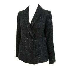 Pendleton Metallic Tweed Boucle Black Jacket Shawl Collar Women's Sz 6 NWT