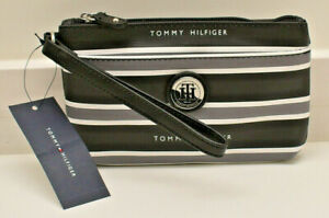 Tommy Hilfiger Wristlet Clutch Handbag Black Logo Stripe New! NWT