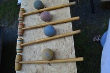 Vintage (4) Croquet Mallets Wooden and (4) Wooden Balls