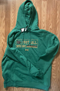 Notre Dame Football Team Issued Under Armour Hooded Sweatshirt New Large Green