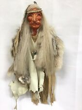 Vintage Native American Indian Coyote Fur Leather  Wall Hanging Signed