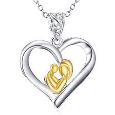 Mutter u Baby Kind vergoldet im Herz Kette Anhänger 925 Silber