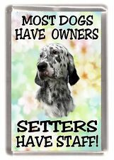 """English Setter Dog Fridge Magnet """"Most Dogs Have Owners Setters Have Staff"""""""