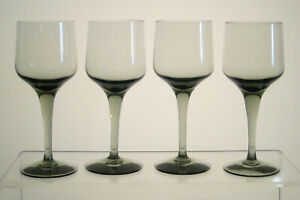 "RHAPSODY SMOKE ORREFORS Sherry or Port Wine Glasses 5"", SET of FOUR Smoked Glass"