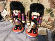 """Adorable Purple 7"""" tall Russian Soldier pair. One missing beard"""