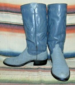 Mens Mike Allred Handmade Gray African Hide Leather Cowboy Boots 10.5 D VGC
