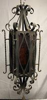Vtg. Spanish Revival Style Gothic Iron Tin Amber Hanging Pendant Light Fixture