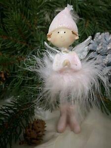 Angel Decorative Figurine Spring Pink Christmas Shabby Vintage Decoration 14,5cm