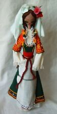 Vintage wooden doll toy with national folk art costume hand made Bulgaria 15""