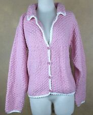 Handmade Soft Pink with White Trim Handknit Sweater