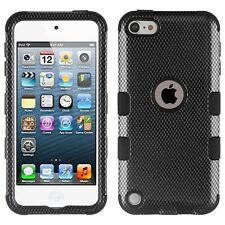 for iPod Touch 6th 5th Gen - Carbon Fiber Black Tuff Hybrid Case