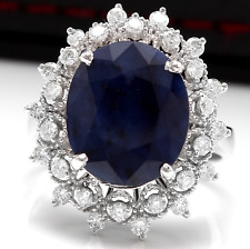 7.35Ct Natural Blue Sapphire & Diamond 14K White Solid Gold Ring