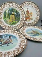 4 Game Bird Dinner Plates National Wildlife Federation Oak Leaf Pheasant Grouse