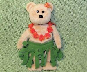"TY BEANIE BABIES ALANA 8"" PLUSH STUFFED TEDDY BEAR GREEN GRASS SKIRT ORANGE LEI"