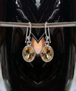 315c Citrine Solid 925 Sterling Silver Oval Faceted Gemstone Earring rrp$49.95