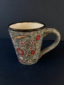 Hand Made Myth Arts Turkish Gray Black Red Floral Pattern Ceramic Mug