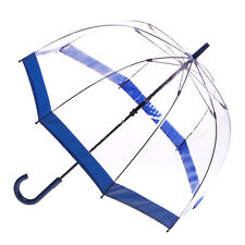 Clear Dome Birdcage Umbrella with Blue Trim