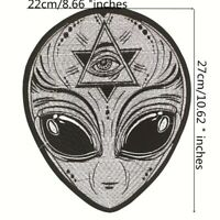 1 x Large Evil Eye Alien Skull Protection Biker Sew / Iron On Embroidered Patch