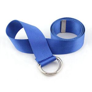 Women Ladies Double Ring Buckle Skinny Waist Belts Canvas Nylon Jeans Dress Belt
