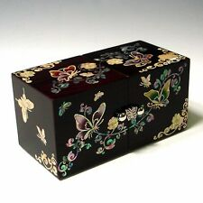 Mother of Pearl Inlay Asian Lacquer Wooden Butterfly Design Jewellery Chest Box