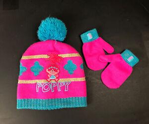 The Trolls Toddler Size 2T-5T Girls Pink Poppy Beanie Hat & Mittens Winter Set