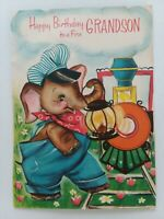 1964 Vtg ANTHROPOMORPHIC ELEPHANT Pop Up TRAIN GRANDSON Birthday GREETING CARD