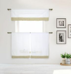 Cotton Shabby Chic White 3 Pc Curtain Set Taupe Pleated Ruffles Valance Tiers