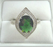 4.75ct Deep Green Spinel,White Cubic Zirconia 925 Solid Sterling Silver Ring