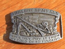 I will give up my Gun when they Skeleton Belt Buckle 1980 Indiana Metal Craft