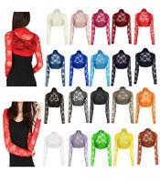 Womens Cropped Lace Shrug Ladies Bolero Lace Cardigan Jacket Top Size UK 8-12