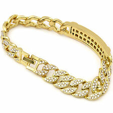 Men's 14k Hip Hop Bracelet Gold PT Fully Cz Iced Out Miami Cuban Style Link (s)