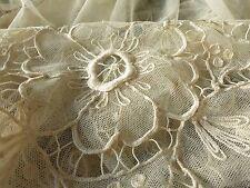 GORGEOUS Antique c1920 TAMBOUR NET LACE COVERLET Bedspread Silky 70x100