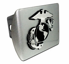 usmc marine corps insignia chrome brushed military trailer hitch cover usa made