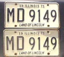 """1971 ILLINOIS LICENSE PLATES MATCHING PAIR """" MD 9149 """" IL  ALL ORIGINAL MARYLAND"""