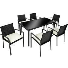 Conjunto muebles de jardín terraza ratán sintético exterior 6 sillas 1 mesa negr