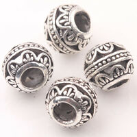 10Pcs Tibetan Silver Big Hole Loose Spacer Beads Jewelry Making Finding Craft