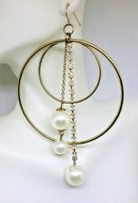Mod Earrings Lg Silver Toned Hoop Clear Rhinestone White Faux Pearls Hook Pierce