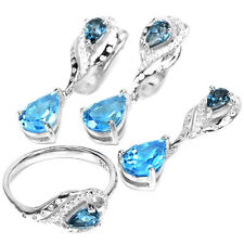 GENUINE 9X7 MM. AAA SWISS-LONDON BLUE TOPAZ & WHITE CZ STERLING 925 SILVER SET