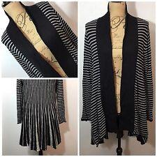 SOFT SURROUNDINGS P Large Stripe CASHMERE ANGORA Blend Long Sweater Cardigan