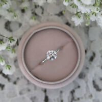 0.50 Carat Real Round Cut Solid White Gold 14K Diamond Solitaire Women's Rings