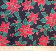 2 YARDS HOLIDAY POINSETTIA ON BLACK 100% COTTON FABRIC