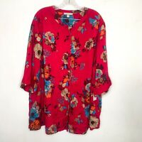Woman Within Floral Blouse Button Front Top Pink Women's Plus Size 2x 26/28