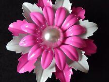 "VINTAGE PINK & WHITE  3""1/4 ENAMEL DAISY  FLOWER  BROOCH WEDDING CORSAGE 1960'S"