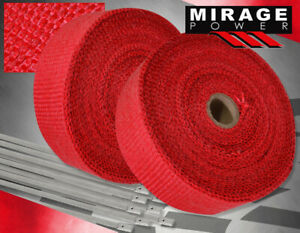 """360""""30Ft Catalytic Converter Exhaust Header Heat Wrap Shield Cover Roll Set Red"""