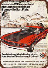 1969 Ford Mustang Mach 1 at Salt Flats Reproduction Metal Sign 8 x 12